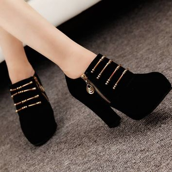 Platform High Heel Suede Zipper Ankle Boots