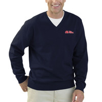 Ole Miss Rebels Clubhouse V-Neck Sweater – Navy Blue