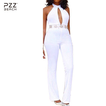 2016 Fashion White Long Rompers Womens Jumpsuit Halter Sexy Deep V-neck Bodysuit Backless Hollow Out Overalls Playsuits Macacao