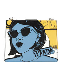 Prada Woman-Print Saffiano Frame Shoulder Bag
