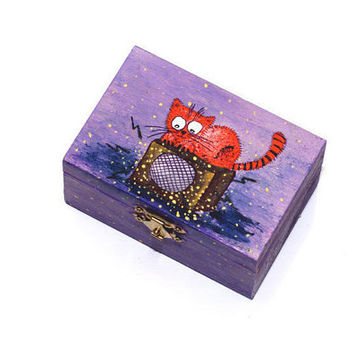 Small wooden box Wood girls jewelry boxes Painted jewelry box Cat box Keepsake box Wood jewelry box Trinket box Treasure box Gift for her