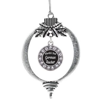 World's Best German Teacher Circle Charm Holiday Ornament