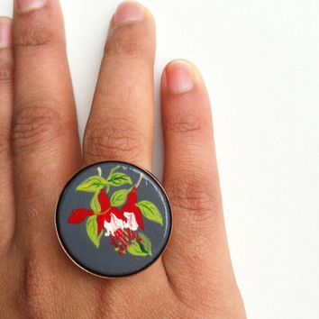 Red Flower Ring, Chunky Ring, Hand Painted Ring, Fuchsia Jewelry,Copper Ring,Adjustable Flower Ring, Boho Ring,Statement Ring, Gifts for her