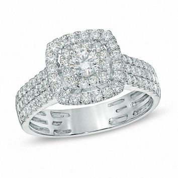 1 CT. T.W. Diamond Double Frame Triple Row Engagement Ring in 14K White Gold