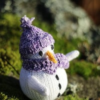 Toy Snowman, handknit from eco friendly cotton yarn, winter gift and decoration, christmas decoration, gift for kids and adults