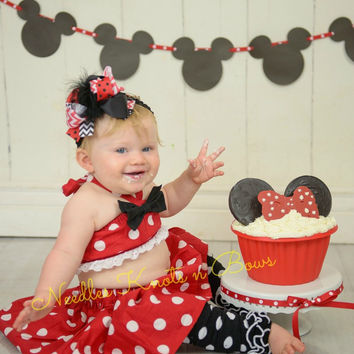 Girls Minnie Mouse Birthday Cake Smash Set, Girls First Birthday Outfit, Cake Smash Outfit