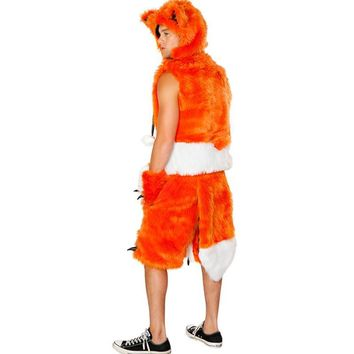 animal faux fur fox costume with gold color fur leather sexy animal costume tail halloween beautiful fox costume adult man