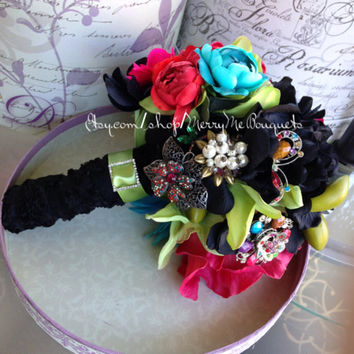 Black and colorful bridal bouquet mixed silk and true touch. Ready to ship