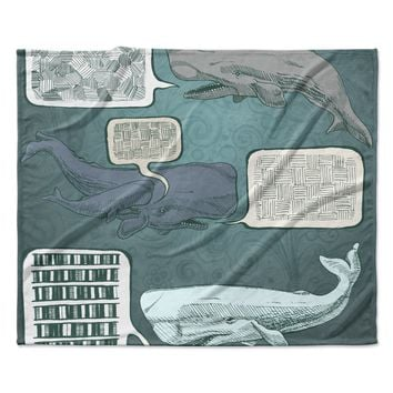 "Sophy Tuttle ""Whale Talk"" Fleece Throw Blanket"
