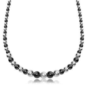 Sterling Silver Rhodium and Ruthenium Plated Graduated Polished Bead Necklace