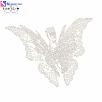 SUSENSTONE Women Lovely Butterfly Chain Necklace Jewelry Pendants #3-4