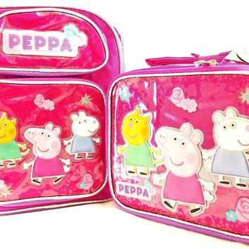 "Entertainment One Peppa Pig Girls 12"" Canvas Pink School Backpack w/Lunch Bag"