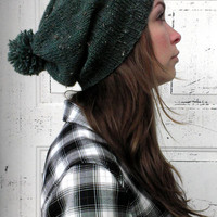 Slouchy hat beanie knitted- in GREEN tweed