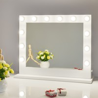 Chende White Hollywood Lighted Makeup Vanity Mirror Light with Dimmer Christmas Gift