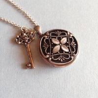 Locket and Key Pendant Necklace | Steampunk Inspired Necklace