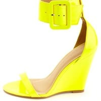 Patent Single Sole Ankle Strap Wedges