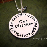 One Direction Necklace Hand Stamped Necklace Names Harry Liam Zayn Niall Louis 1D Directioners