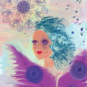 Abstract Purple Fairy Print from Original Digital Art SFA