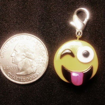 Emoji Charm with lobster clasp for jewelry,  backpack, keychain, zipper pull, necklace, bracelet, keychain, decor