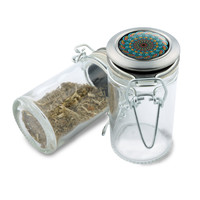 Glass Jar - Smoke Cloud Mandala - 75ml Herb and Spice Storage Container