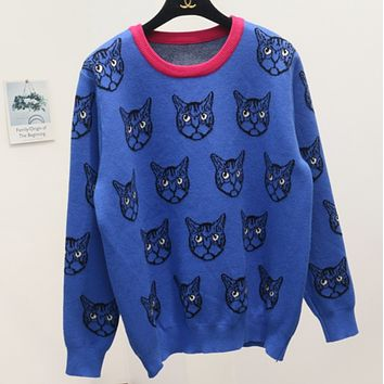Gucci Trending Cat Print Round Neck Long Sleeve Pullover Sweater Blue G