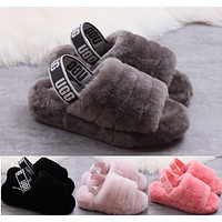 UGG Hight Quality Women Fashion Fur Flats Sandals Slipper Shoes Black/ grey/ light pink/red pink