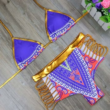 HOT! 2017 African Print Shiny Gold/Purple Blue 2Piece Swimsuit
