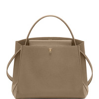 Valextra Triennale Large Leather Top-Handle Bag, Beige