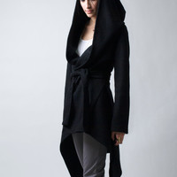 Black Coat with a Hood / Asymmetrical Hoody Cardigan / Sweater Jacket / Oversize Designer Coat / Asymmetric Jacket / marcellamoda - MC075