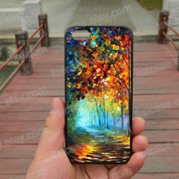Oil painting road trees, iphone 5s case iphone 4/4s/5/5c case Samsung galaxy s5 case galaxy s3/s4 case covers skin 43