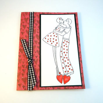 Wedding Anniversary Card,  I love you, cute love card, Valentines Day, Kissing couple, red hearts, card for husband, wife, black red white
