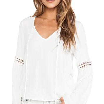 Surf Gypsy Crochet Inset Bell Sleeve Top in White