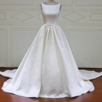 Wedding Dresses Satin Lace Beads Appliques Pearls Bridal Gowns Crystal Flower