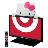"Hello Kitty 19"" LED TV Monitor and Stand. Gloss Black (720p 60hz)"