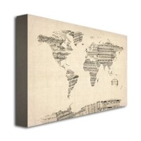 Trademark Fine Art Old Sheet Music World Map by Michael Tompsett Canvas Wall Art, 16x24-Inch
