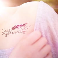 2pcs Free Yourself feather bird tattoo - InknArt Temporary Tattoo Set - pack tattoo quote wrist ankle body sticker anchor fake tattoo