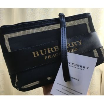BURBERRY hot sale fashion gauze stitching makeup bag ladies hand in a large capacity to wash the makeup bag