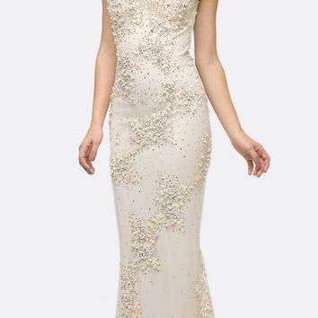 Long Beaded Sheath Gown Champagne Cap Sleeves
