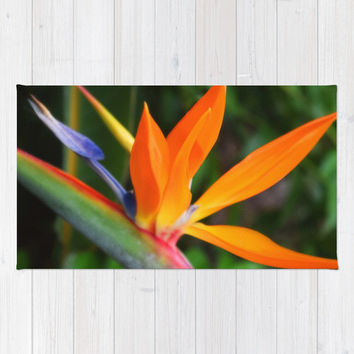 Strelitzia - Beach Towel, Beach Tropical Surf Style Fashion Accent, Orange & Green Bird of Paradise Large Sized Beach Blanket. In 36x72 Inch