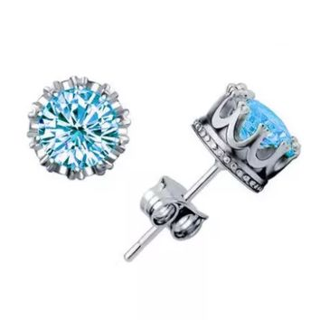 Solitaire Crown AAA CZ Stud Earrings ~ 5 Color Choices