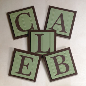 Green and Brown Baby Boy Nursery, Name Wall Letters Room / Wall Decor, 6 x 6 Personalized Wooden Plaques for CALEB, Baby Shower Gift Ideas