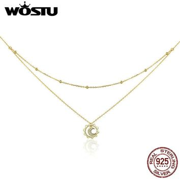 WOSTU Hot Sale 100% 925 Sterling Silver & Gold Color Moon In Sun Pendant Necklace For Women Birthday Jewelry Fashion Gift CQN305