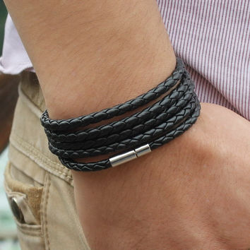 Trendy Sproty Male Chain Link Charm Bracelet Bangles High Quality Classic Wrap Leather Men Bracelet Jewelry