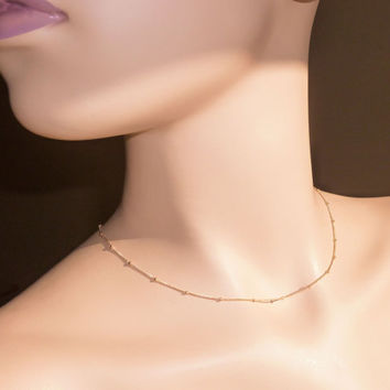 "Gold Filled Satellite Chain Layering Necklace, 16"", 17"", 18"", 19"", 20"", 22"", 24"", 28"", 32"" Silver Saturn and Curb Chain w/ Lobster Clasp"