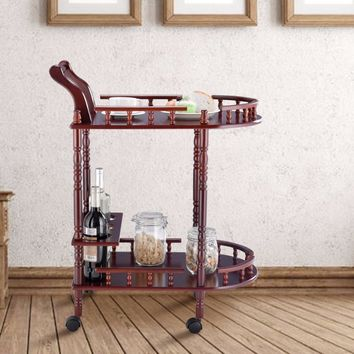 Giantex Kitchen Serving Bar Cart Trolley Wood 2 Tier Rolling Wine Rack Stand Cherry  Home Furniture HW57877