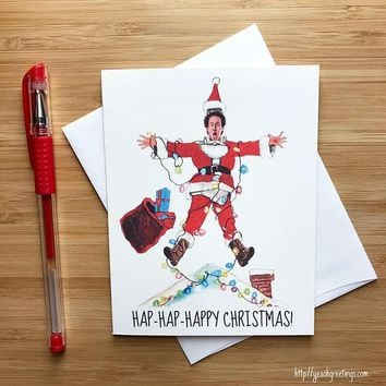 Chevy Chase Clark Griswold National Lampoon Christmas Vacation Funny Christmas Card Holiday Card FREE SHIPPING