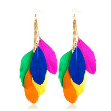 Long Colorful Feather Earrings