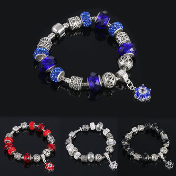 European Murano Crystal Glass Beads Charms Silver Bracelet Women Bangle Jewelry