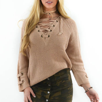 St. Cloud Beige Grommet Sweater