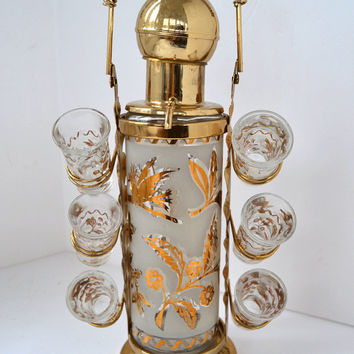 Vintage 1960s Mid Century Barware: Gold Leaf and Frosted Glass Liquor Decanter with Six Shot Glasses in Carrier
